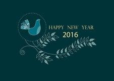 Lyckligt nytt år 2016 på gulliga blom- hälsningkort, illustrationer Arkivbild