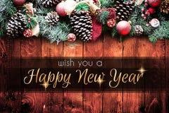 2018 lyckligt nytt ram för år och för glad jul med snö och rea Arkivbild