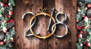 2018 lyckligt nytt ram för år och för glad jul med snö och rea Royaltyfri Bild