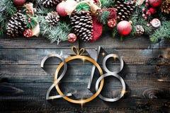 2018 lyckligt nytt ram för år och för glad jul med snö och rea Fotografering för Bildbyråer