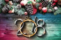 2018 lyckligt nytt ram för år och för glad jul med snö och rea Royaltyfri Fotografi