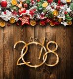 2018 lyckligt nytt ram för år och för glad jul med snö och rea royaltyfria foton