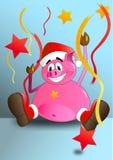 Lyckligt och att fira svinet royaltyfri illustrationer