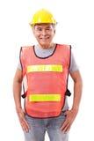 Lyckligt och att le den höga byggnadsarbetaren eller teknikern Royaltyfri Fotografi