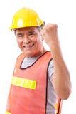 Lyckligt och att le den höga byggnadsarbetaren eller teknikern Royaltyfri Foto