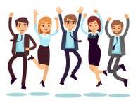Lyckligt och le arbetare, affärsfolk som hoppar plana vektortecken royaltyfri illustrationer