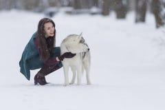 Lyckligt och le den Caucasian brunettkvinnan som spelar med Husky Dog Outdoors parkera in Arkivfoton
