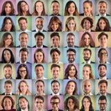 Lyckligt och realiteten vänder mot collage av affärsfolk royaltyfria foton
