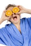 lyckligt orange kvinnabarn för halfs arkivfoto