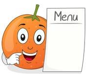 Lyckligt orange tecken med den tomma menyn Royaltyfri Bild