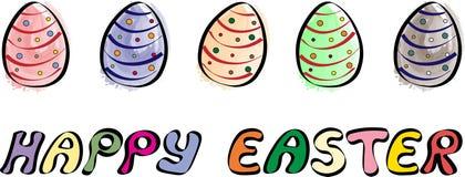 Lyckligt påskbaner med illustrationen för fem ägg stock illustrationer