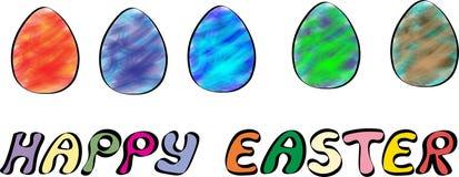 Lyckligt påskbaner med illustrationen för fem ägg vektor illustrationer