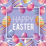 Lyckligt påskemblem med bakgrund för garnering för easter ägg royaltyfri illustrationer