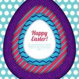 Lyckligt påskhälsningkort, baner eller affischdesignmall Färgrikt papper med geometrisk texturbakgrund Royaltyfria Bilder