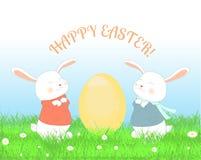 Lyckligt påskhälsningskort stock illustrationer