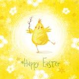 Lyckligt påskhälsningskort Gullig höna med text i stilfulla färger Royaltyfri Bild