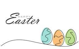 Lyckligt påskhälsningskort med ägg, vektorillustration vektor illustrationer