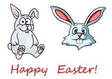 Lyckligt påskkort med easter kaniner Arkivbilder