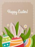 Lyckligt papper för påskhälsningkort Royaltyfri Fotografi