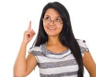 lyckligt pekande barn för affärskvinna Arkivbild