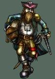 Lyckligt piratkopiera med den guld- skatten stock illustrationer