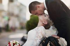 Lyckligt precis gift par på en bakgrund av den härliga archien Royaltyfria Foton