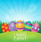 Lyckligt påsktema med dekorerade ägg Arkivbilder