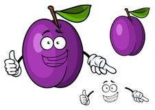 Lyckligt purpurfärgat ge sig för tecknad filmplommonfrukt tummar upp Arkivfoto