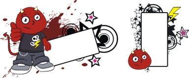 Lyckligt rött för halloween för demonungetecknad film utrymme kopia stock illustrationer