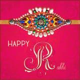 Lyckligt Rakhi hälsningkort för indisk ferie royaltyfri illustrationer