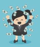 Lyckligt regn för pengar för affärskvinna som kastar pengar upp affärsconce royaltyfri illustrationer