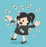 Lyckligt regn för pengar för affärskvinna som kastar pengar upp affärsconce vektor illustrationer