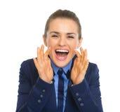 Lyckligt ropa för affärskvinna Royaltyfri Bild