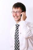 lyckligt samtal för affärsmanmobiltelefon royaltyfri fotografi