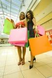lyckligt shoppa womans royaltyfria bilder
