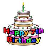 Lyckligt sjunde födelsedaghjälpmedel som firar att gratulera och att hälsa royaltyfri illustrationer