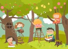 Lyckligt skörda för barn stock illustrationer
