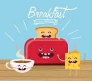 Lyckligt skivat bröd med kakaokoppen och ost stock illustrationer