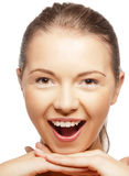 lyckligt skrika för flicka som är tonårs- Fotografering för Bildbyråer