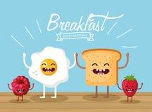 Lyckligt stekt ägg med skivade bröd och frukter stock illustrationer