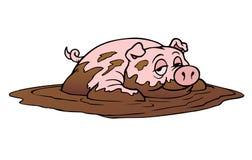 Lyckligt svin som vältra sig i gyttja stock illustrationer