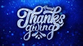 Lyckligt tack som ger blåa hälsningar för textönskapartiklar, inbjudan, berömbakgrund