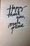 Lyckligt tacka dig behar mer calligraphic bakgrund arkivbild