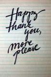 Lyckligt tacka dig behar mer calligraphic bakgrund royaltyfri fotografi