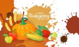 Lyckligt tacksägelsedagAutumn Traditional Harvest Holiday Greeting kort Arkivfoto
