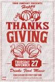 Lyckligt tacksägelsedagkort på grungebakgrund EPS 10 royaltyfri illustrationer
