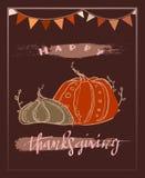 Lyckligt tacksägelsehälsningkort med illustrationen av linjen drog pumpor för stil och handskriven bokstäver stock illustrationer