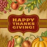 Lyckligt tacksägelsekort för tappning stock illustrationer