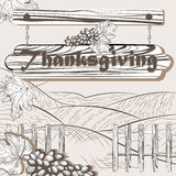 Lyckligt tacksägelsekort för tappning vektor illustrationer