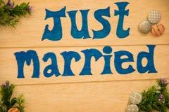Lyckligt tecken för bröllopsresa som läser precis att gifta sig Arkivfoton